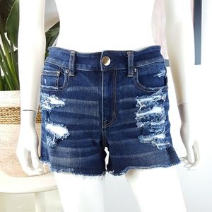 American Eagle Hi-Rise Shortie Distressed Shorts 6
